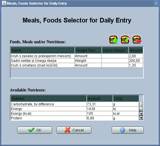 Adding Food from Database